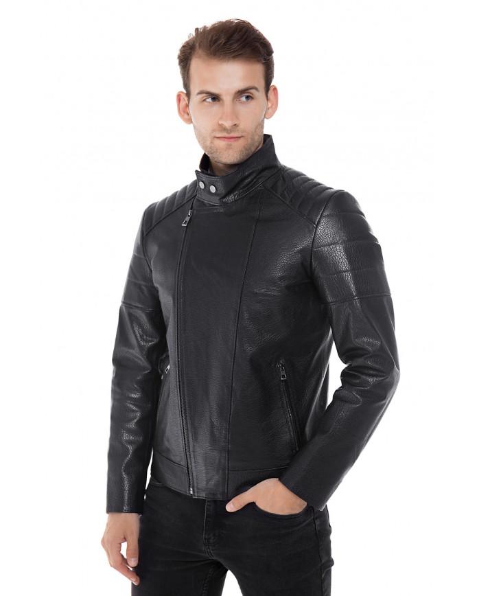 Чоловіча шкіряна куртка косуха E2-004 JUMBO 107 - интернет-магазин Alberta