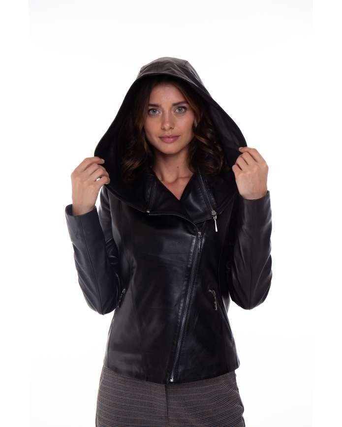 Жіноча шкіряна куртка-трансформер  transformer/1021 ZIG 112 - интернет-магазин Alberta