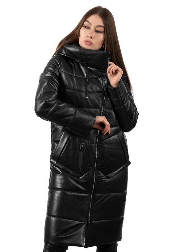 Женский кожаный зимний пуховик NAF/0921 ZIG 112